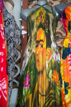Frida Khalo image on dress fabric