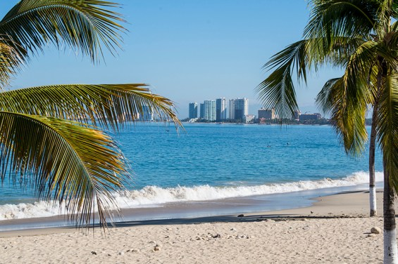 Beach & high rises at Puerto Vallarta
