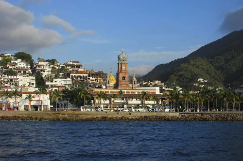 Our Lady of Guadalupe cathedral, view from Bay of Banderras