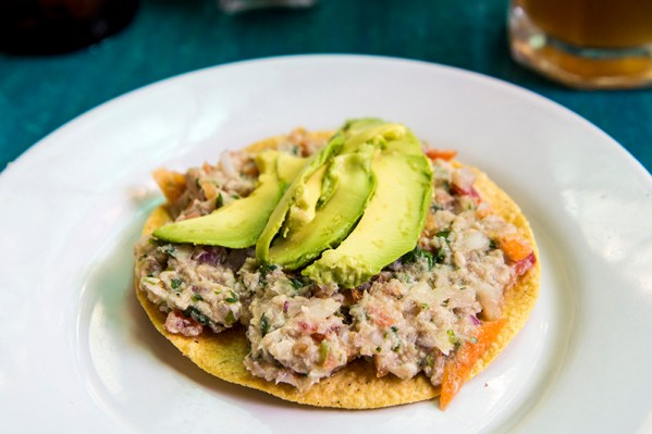 Ceviche tostada with avocado