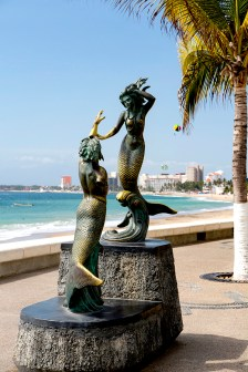 Neptune and Nereid sculpture, sculptor C. Espino, The Malecon, Puerto Vallarta, Jalisco, Mexico