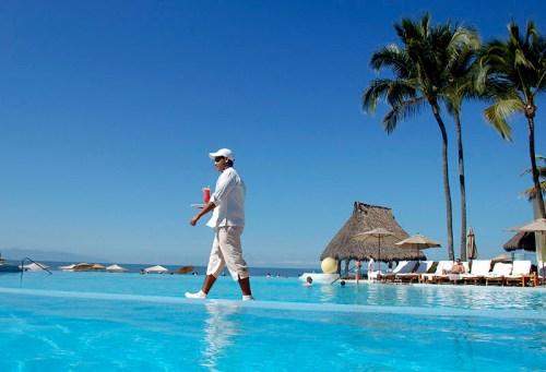 Waiter walking on water