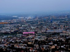 City of Linz and Danube at dusk