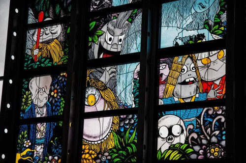 Partial view of a stained glass artwork at yonago kitaro airport in japan's tottori prefecture representing the work of manga artist Shigeru Mizuki and titled Yokaitachi no mori or Yokai monsters of the forest,inaugurated on march 8 2016.