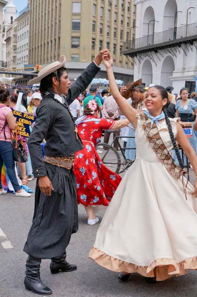 Folk dancers at a gaucho-days celebration