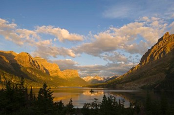 Saint Mary Lake and Wild Goose Island just after sunrise; Glacier National Park, Montana.