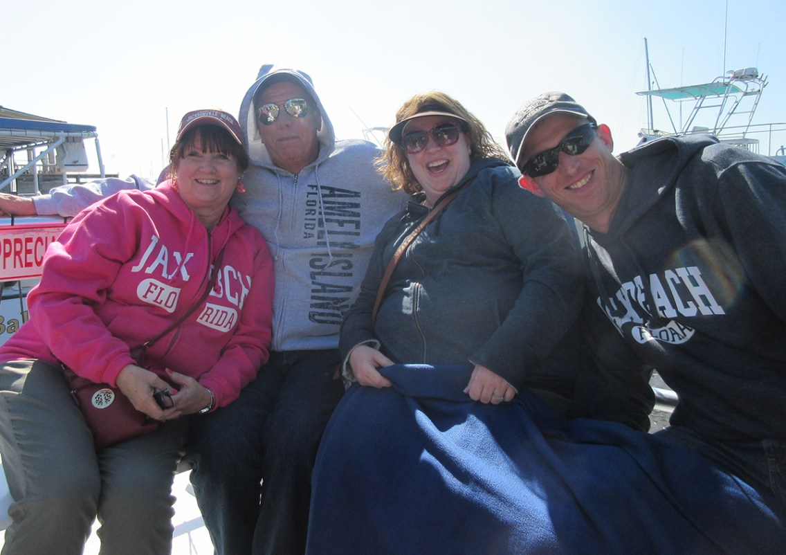 Keith, Cindy, Jason and Stacy on the boat ride outside of Amelia Island.. Photo by Cindy Ladage