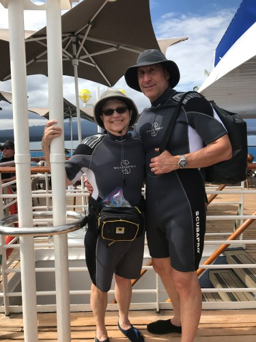 Sandy and Ira Bornstein getting ready for a deepwater snorkel on Celebrity Cruises Xpedition