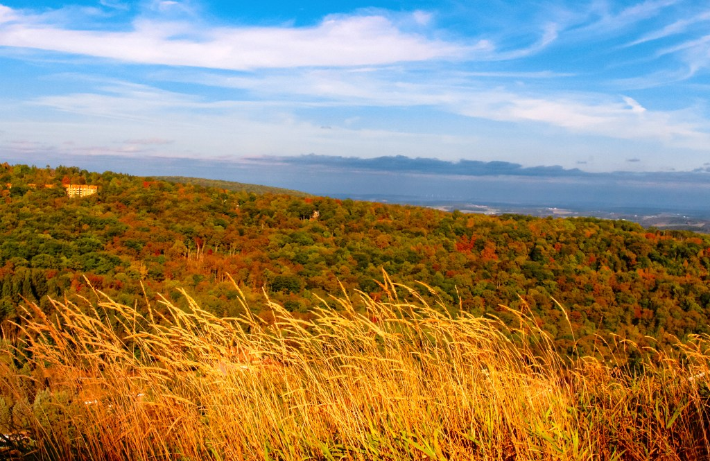 View of Autumn foliage from atop 7 Springs Mountain Resort in Laurel Highlands, PA