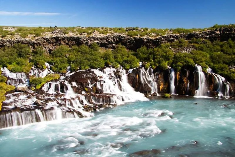 Hraunfossar Waterfall in Iceland beautiful slow exposure capture