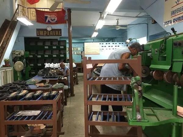 Inside of a shoe factory in Havana, Cuba