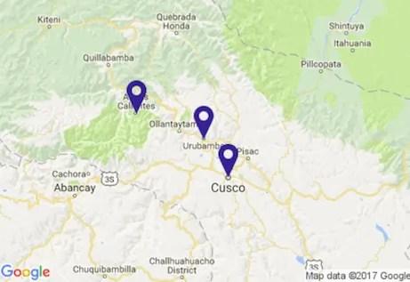 Peru Sacred Valley Map