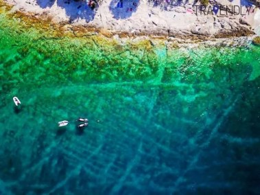 Drone picture in Bol on Brac island, Croatia