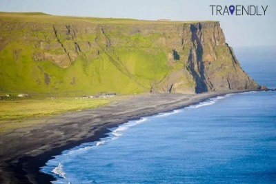 View of the black sand beach from Dyrholaey in Iceland