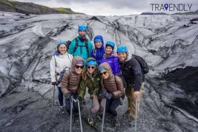 Glacier hike on Solheimajokull in southern Iceland