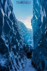 Blue ice cave on Skaftafell glacier Iceland