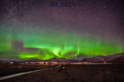 Star filled sky with Northern Lights in Iceland