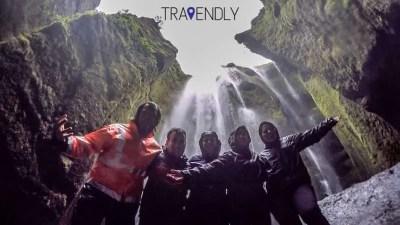 Selfie in the secret waterfall in southern Iceland