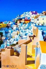 Colorful homes of Fira, Santorini, Greece