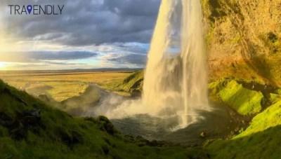 Seljalandsfoss waterfall under sunset