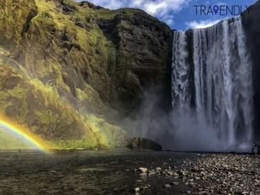 Double rainbow under Skogafoss waterfall Iceland