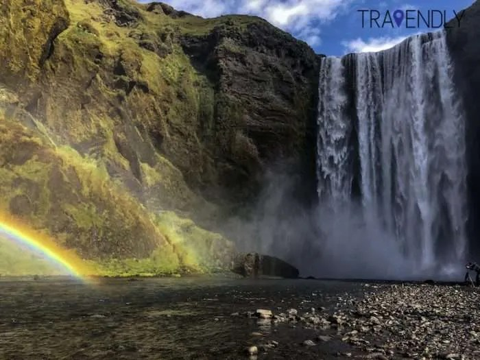 Double rainbow under Skogafoss waterfall Iceland