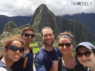 Group selfie at Machu Picchu