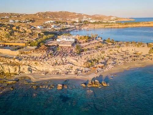 Scorpios beach club Mykonos drone