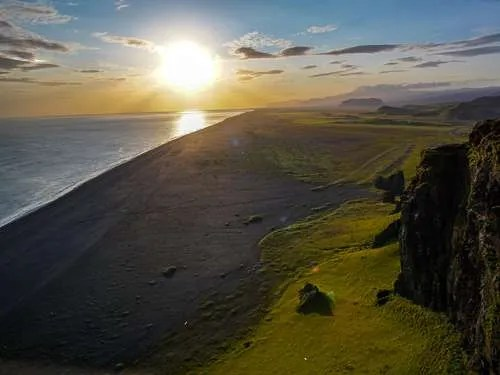Dyrholaey Iceland blazing sunset