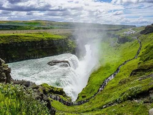 Gullfoss waterfall Iceland summer colors