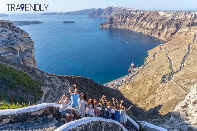 Seaside winding stairs in Santorini Greece