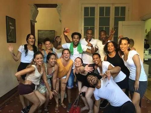 silly group dancing Havana Cuba