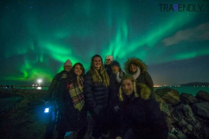 Taking in the Northern Lights in Reykjavik, Iceland
