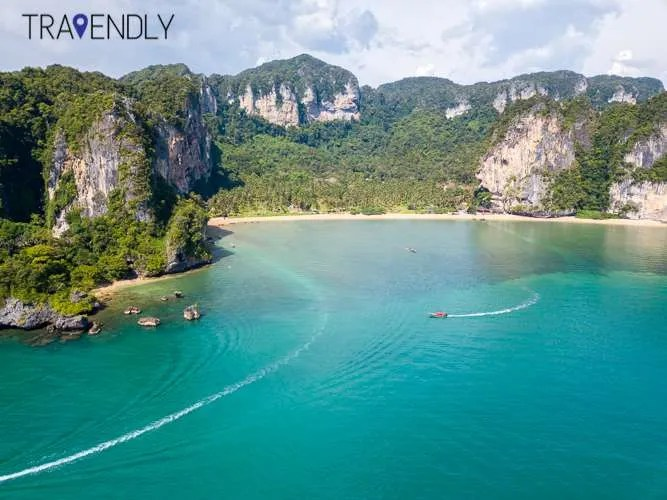 Drone view of Railay beach in Krabi Thailand