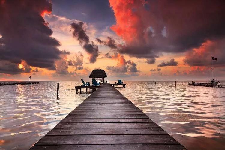 Caye Caulker fire sunset Belize