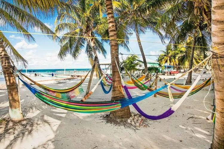 Hammocks on a beach in Caye Caulker Belize