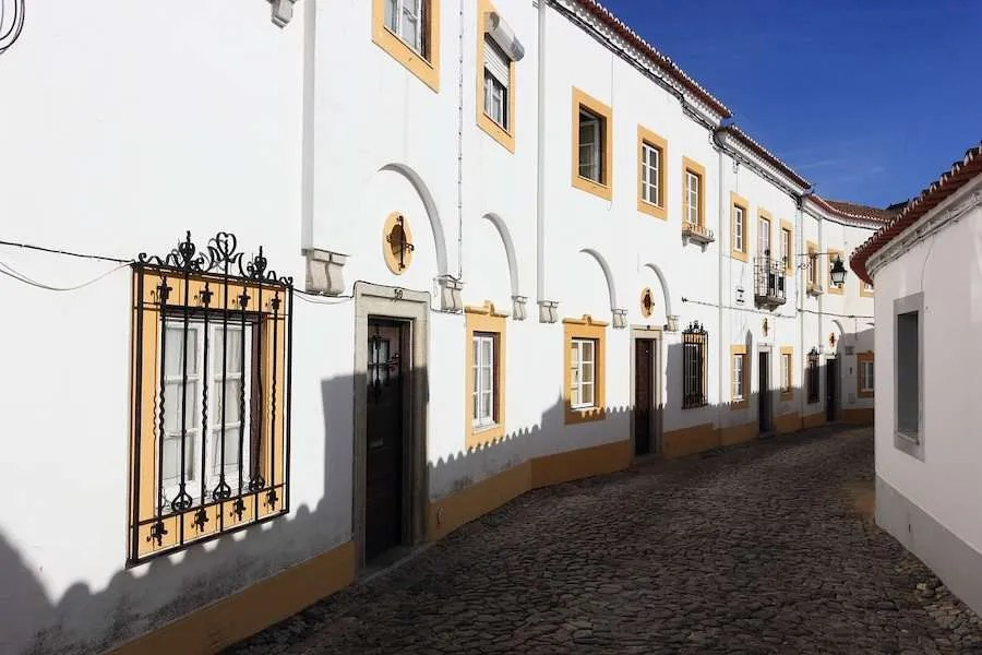 Colonial street in Evora Portugal