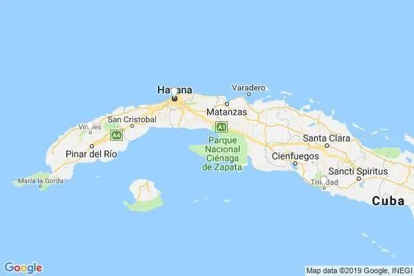 Cuba group trip Havana Trinidad map