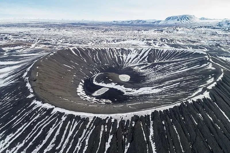 Hverfjall crater rim trail Iceland