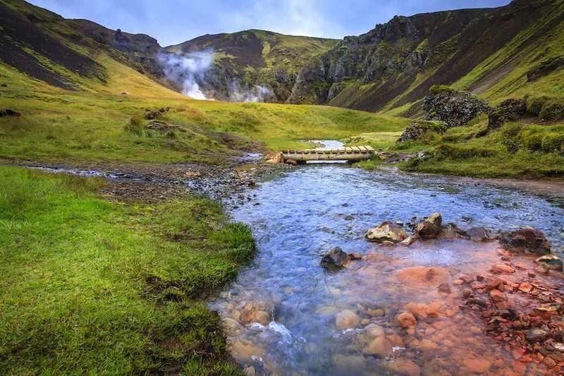 Reykjadalur hiking trail Iceland