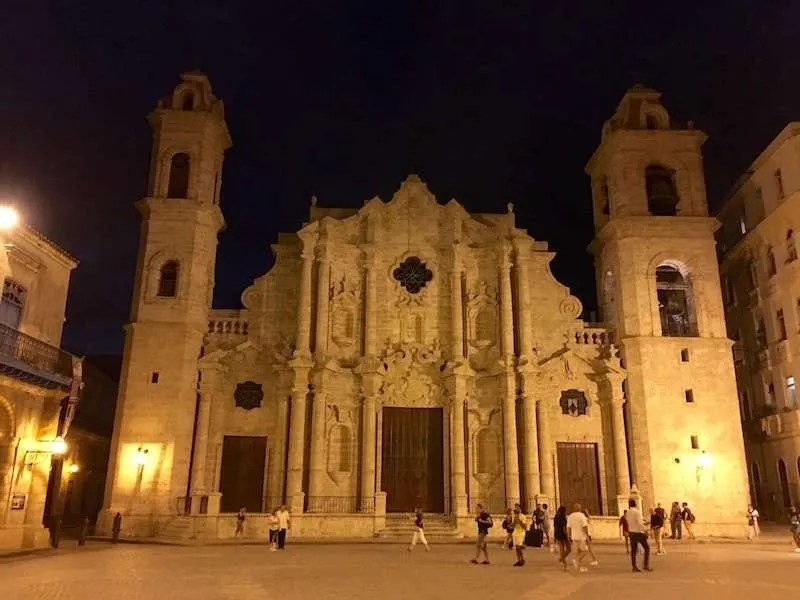 Havana Cathedral at night Cuba