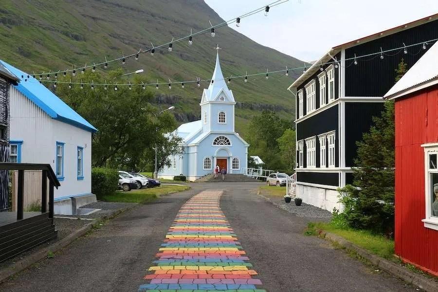 Iceland rainbow road church