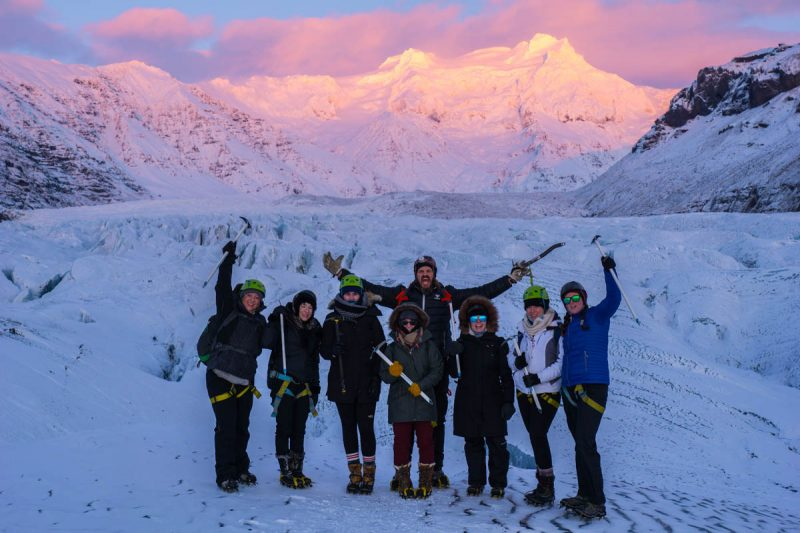 Glacier hike with a beautiful sunset