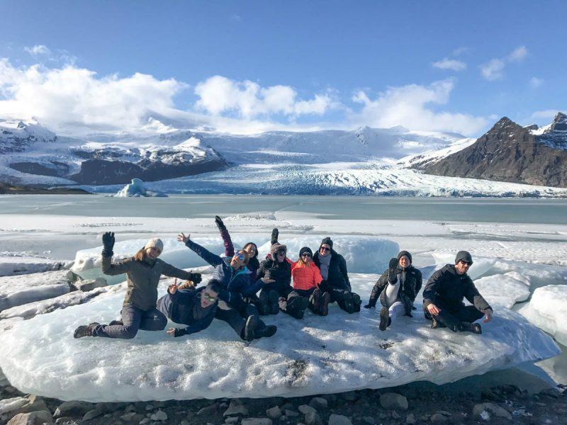 Group on iceberg in Iceland
