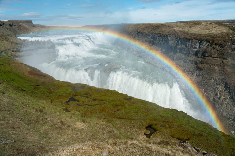 Beautiful rainbow over Gullfoss Iceland