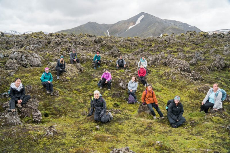 Hanging out in a lava field in Landmannalaugar