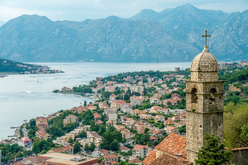 View of Kotor Bay Montenegro and bell tower