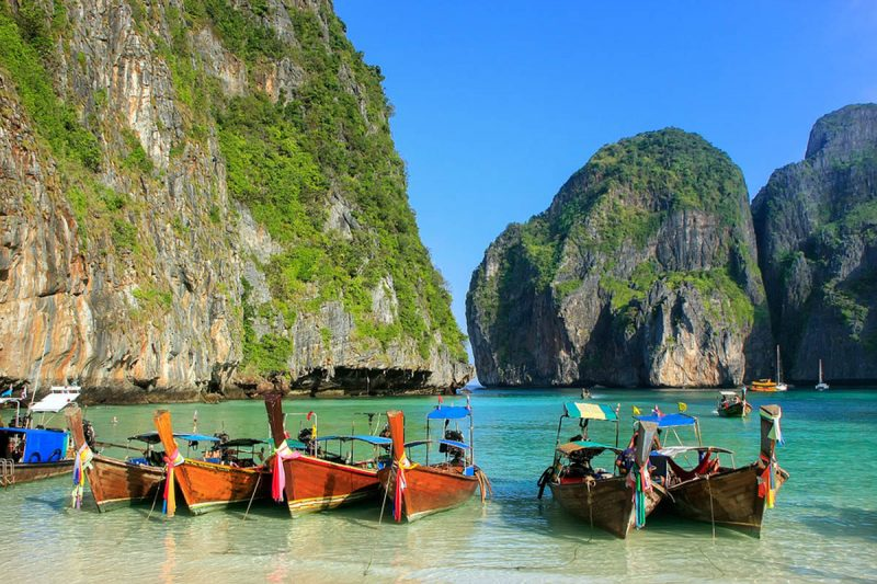 Long boats on Phi Phi Islands Thailand