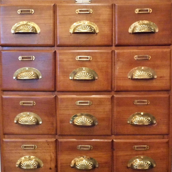 Vintage bank of drawers