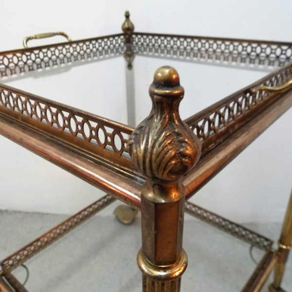 Pair of vintage brass trolleys